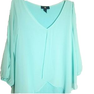 iZ Byer Women's Blouse With Flowy Overlay Small
